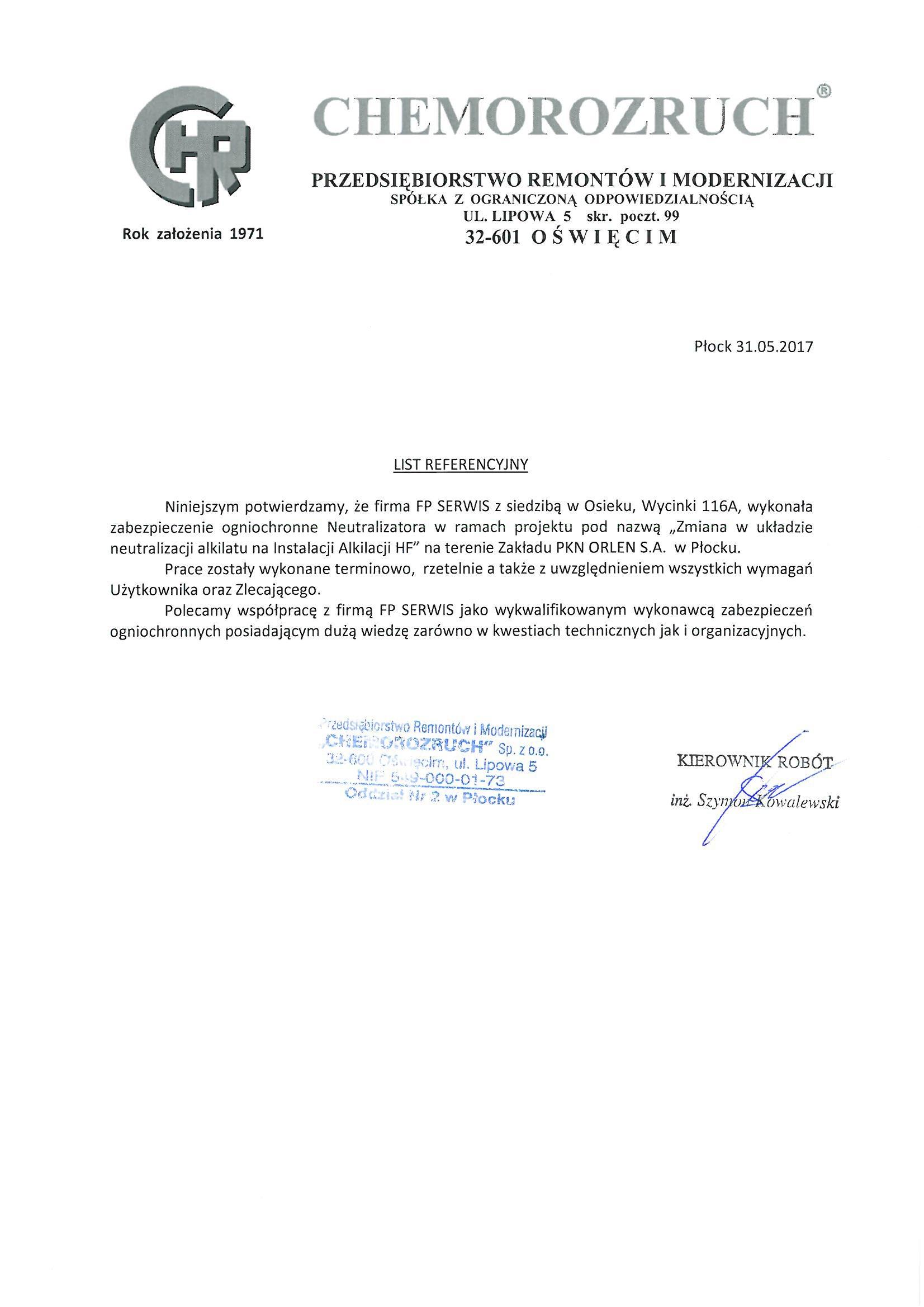 Chemorozruch – Referencje FP Serwis