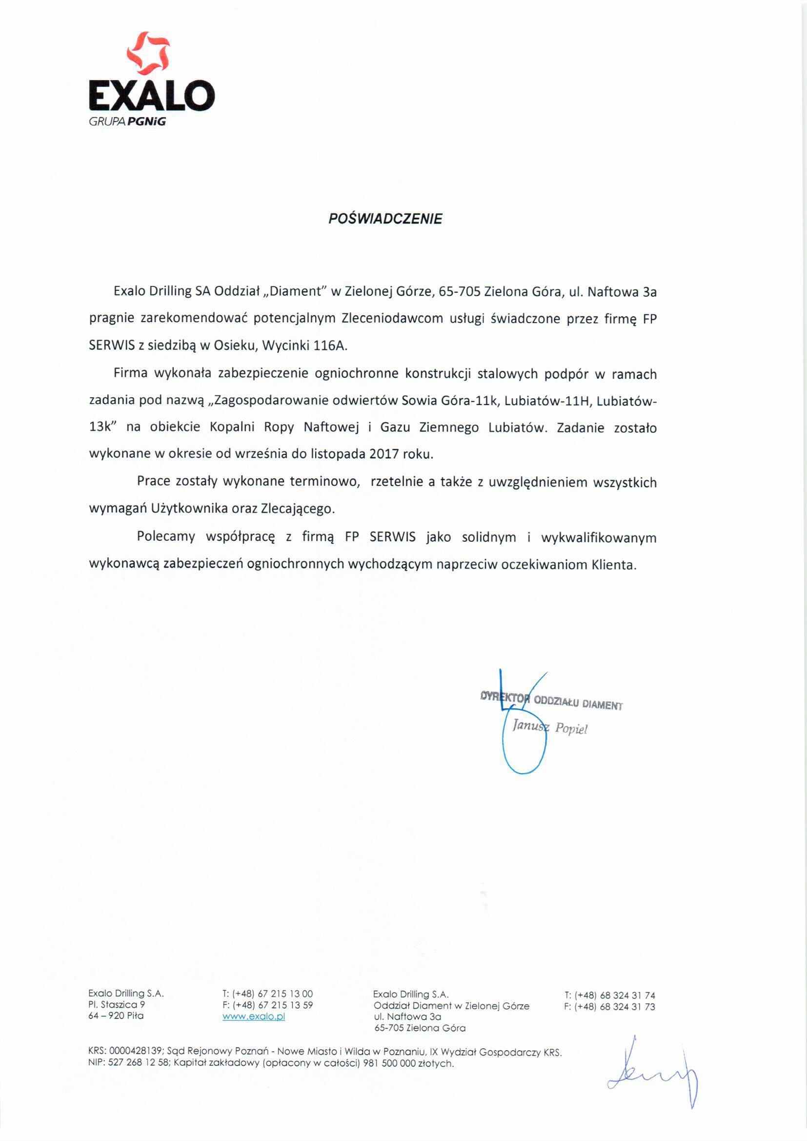 Exalo – Referencje FP Serwis