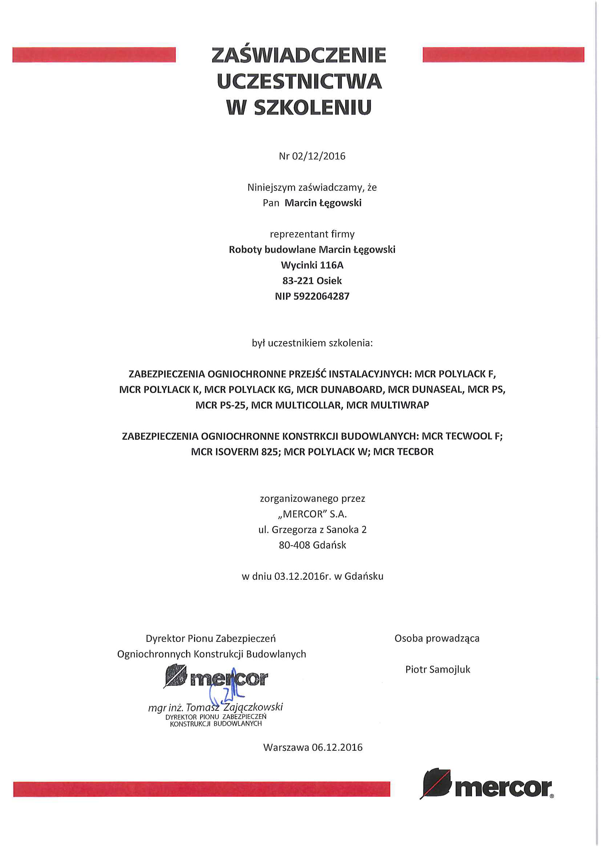 Marcin Łęgowski certyfikat