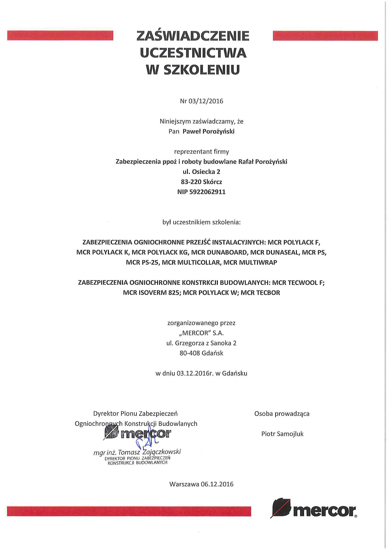 Rafał Porożyński certyfikat